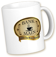 Bank & Main logo mug